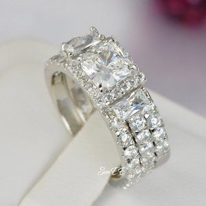 925 Silver White Gold Princess Cut Diamond Ring